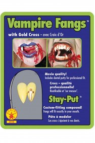 Denti finti canini da vampiro con croce dorata