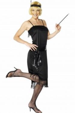 Costume di carnevale da donna anni 20 Charleston Flapper nero
