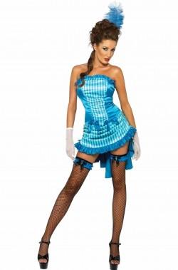 Costume di Carnevale Ballerina del Burlesque Anni 30 azzurro