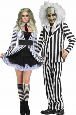 Coppia di costumi di Halloween Beetlejuice uomo e donna adulti