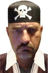 bandana nera pirata con teschio e ossa incrociate jolly roger a cappello