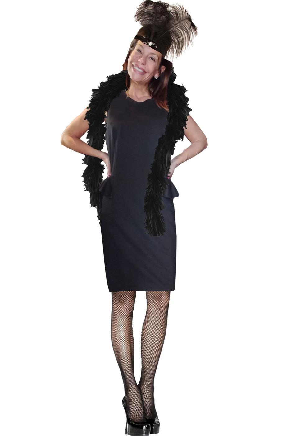 Vestito anni 20 o 30 chicago Grande Gatsby nero con boa e piume