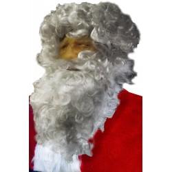 maschera babbo natale con barba e parrucca bianco argento su viso naturale