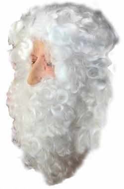 maschera babbo natale viso naturale con barba e parrucca bianca folta