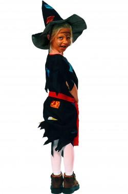 Costume da strega bambina Strega Sabrina nero e patchwork