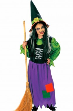 Costume Halloween Bambina Strega befana verde