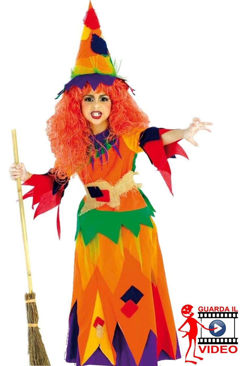 Costume carnevale Bambina Strega arancione