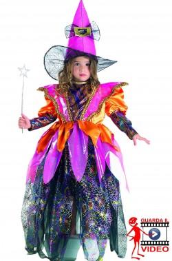 Costume Halloween bambina strega arcobaleno