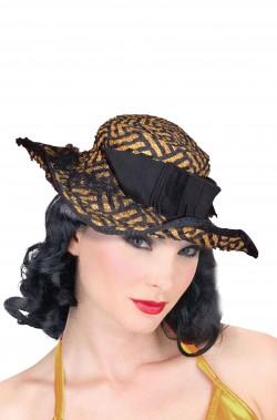 Cappello donna Anni 30 40 vintage giallo e nero