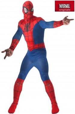 Costume Spiderman adulto con maschera in tessuto