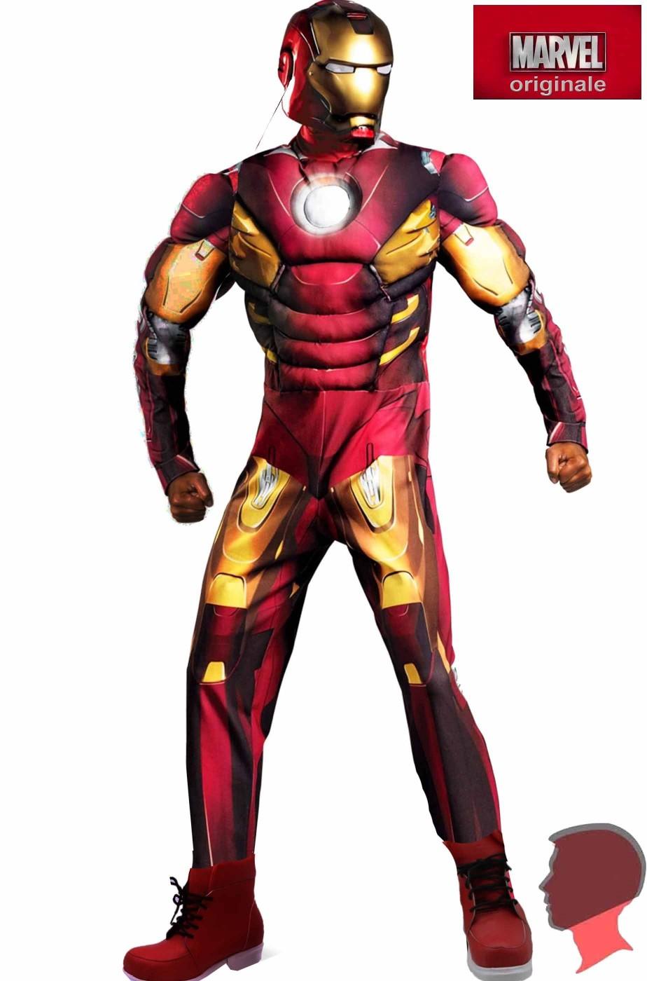 Costume adulto Iron Man Mark VII con muscoli XXL