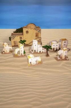 Ambientazione casette del deserto per diorami o presepe