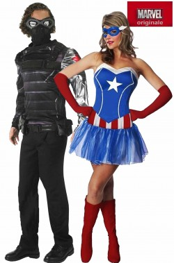 Coppia di costumi Capitan America e The Winter Soldier