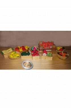 Accessori presepe pacchetto ceste di frutta e verdura del mercato