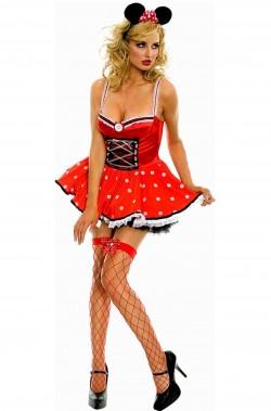 Costume carnevale donna Minnie mouse topolina adulta corto