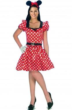 Costume Minnie o Topolina adulta rosso pois bianchi