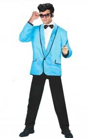Giacca azzurra uomo con bordi neri anni 50 stile grease