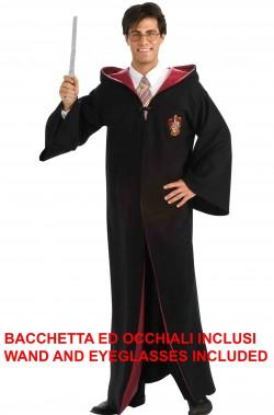 Harry Potter costume adulto con bacchetta ed occhiali inclusi