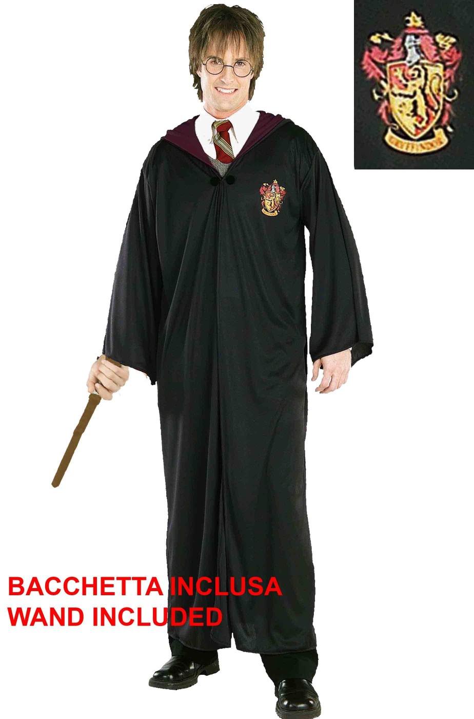 Harry Potter Hermione Tunica Grifondoro Adulto con bacchetta magica