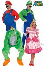 Gruppo costumi di carnevale Super Mario Bros quattro personaggi