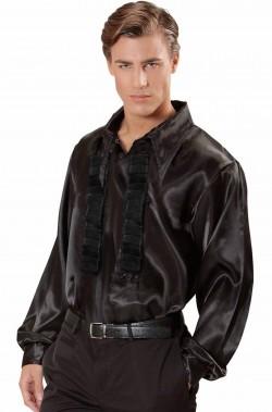 Camicia anni 70 da uomo nera con collo a punta