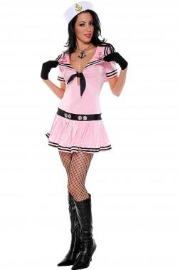 Costume di carnevale da donna marinaia o marinaretta rosa