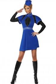 Costume carnevale da donna hostess azzurra
