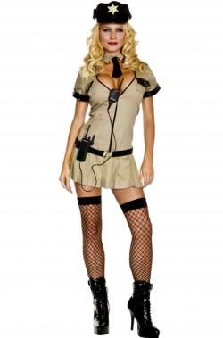 Costume donna Poliziotta verde militare kaki CHIP'S