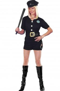 Costume carnevale donna Poliziotta nero con calzoncino