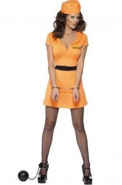 Costume carnevale donna detenuta americana carcerata arancione