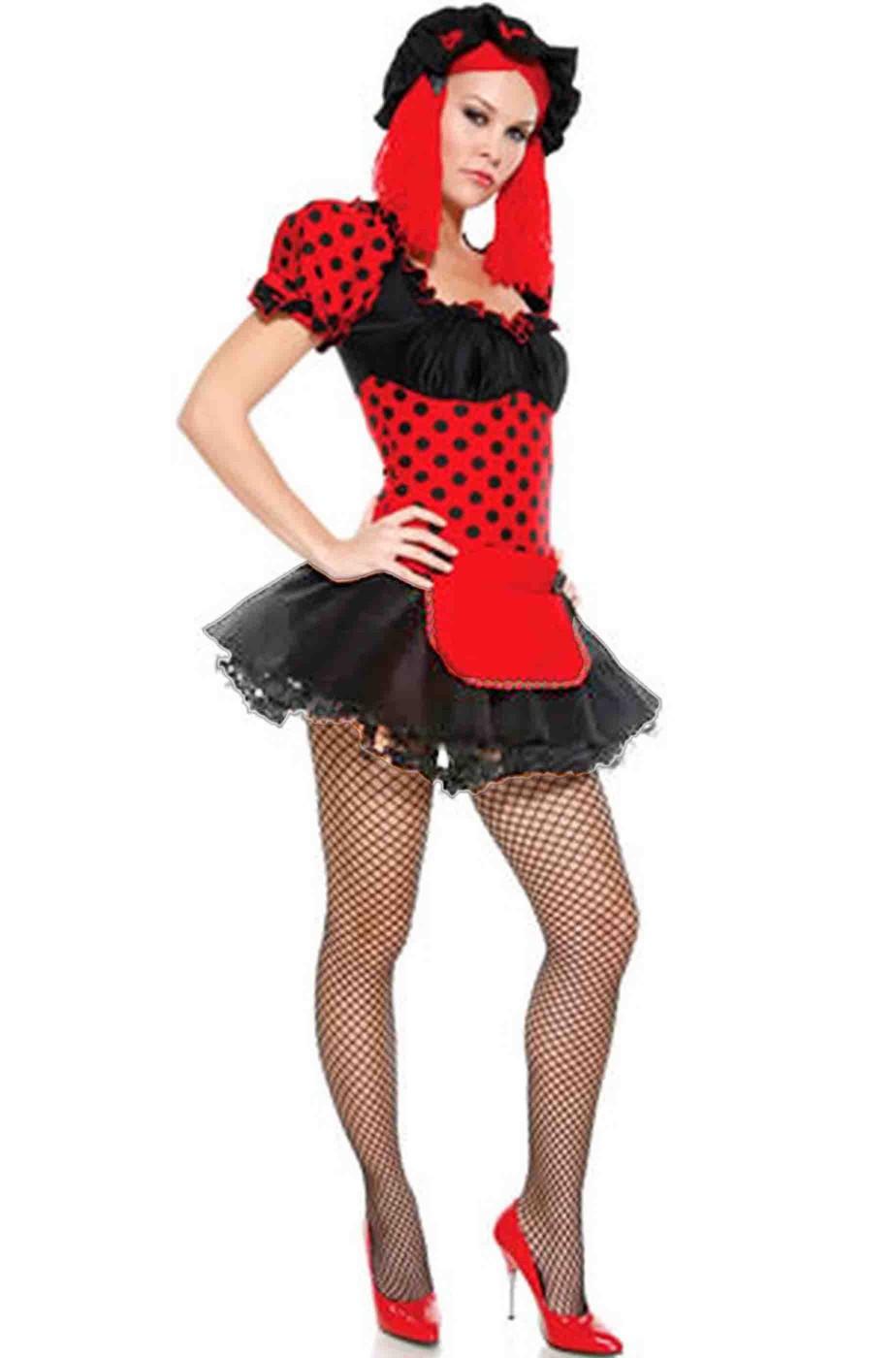 Vestito di carnevale da donna bambola di pezza rossa o coccinella