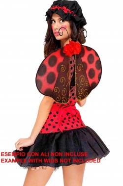 Costume donna bambola di pezza rossa o coccinella