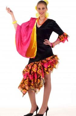 Costume donna spagnola ballerina di flamenco rosa con mantilla