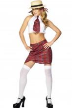 Costume carevale donna Scolara o scolaretta bianca con top e kilt
