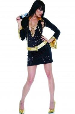 Abito donna nero con coprispalle stile Elvis Presley Pop Star