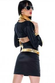 Vestito donna nero elasticizzato con coprispalle Elvis Presley Pop Star