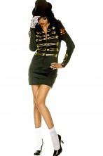 Vestito nero donna elasticizzato corto con alamari dorati stile Michael Jackson Billie Jean