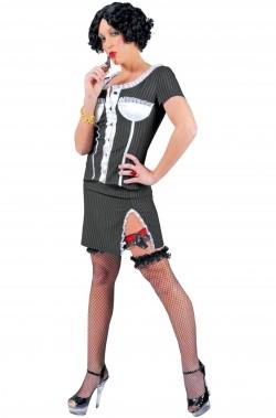 Costume di carnevale da donna Gangster anni 20 Nero gessato con pizzo