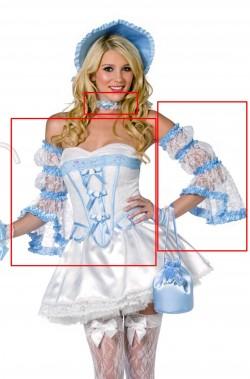 Set per costume di carnevale da dama del 700 azzurra o pastorella