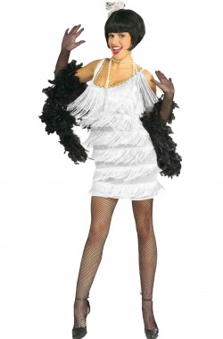 Costume anni 20 donna Charleston Flapper bianco con frange