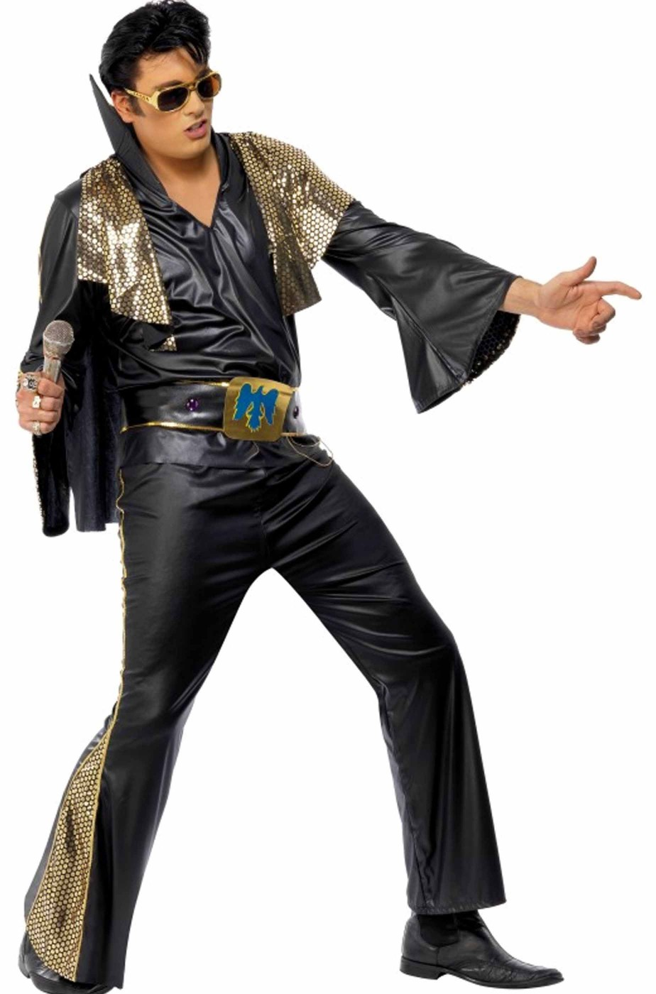 Costume carnevale adulto Elvis Presley The King nero e oro con mantella
