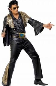Costume carnevale adulto Elvis Presley The King nero e oro con mantella