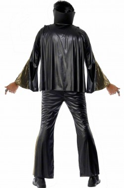 Vestito carnevale adulto Elvis Presley The King nero con mantella