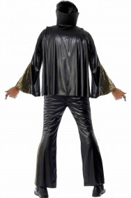 Vestito carnevale adulto Elvis Presley The King nero con mantella