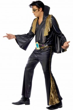 Abito di carnevale adulto di Elvis Presley The King nero con mantella
