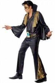 Abito di carnevale adulto di Elvis Presley The King nero con mantella