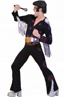 Costume di carnevale Elvis Presley Adulto The King nero con pietre in rilievo