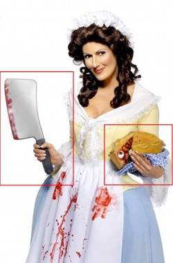 set Halloween Mrs Lovett torta pasticcio di carne umana horror e mannaia