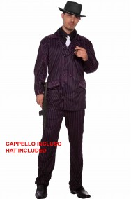 Costume uomo Gangster nero Con cappello
