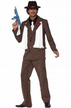 Costume uomo Gangster marrone accessoriato